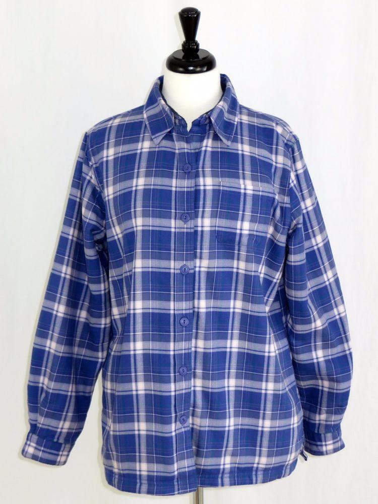 71b0501673033 LL Bean Womens Fleece Lined Flannel Button Front Shirt Purple Plaid M   LLBean  ButtonDownShirt  Casual