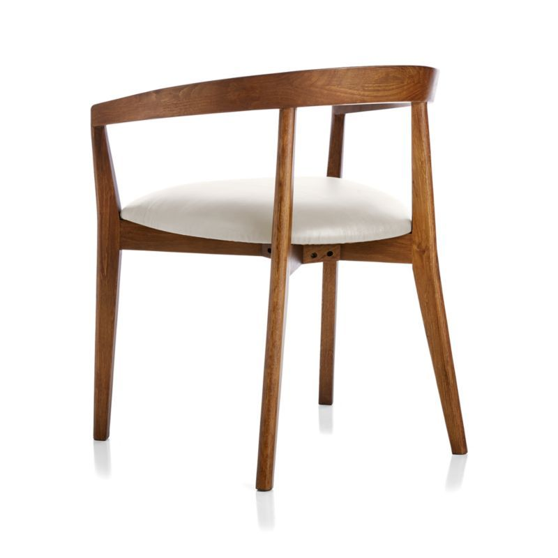 Cullen Dark Stain Sand Round Back Dining Chair Crate And Barrel Round Back Dining Chairs Dining Chairs Leather Dining Room Chairs