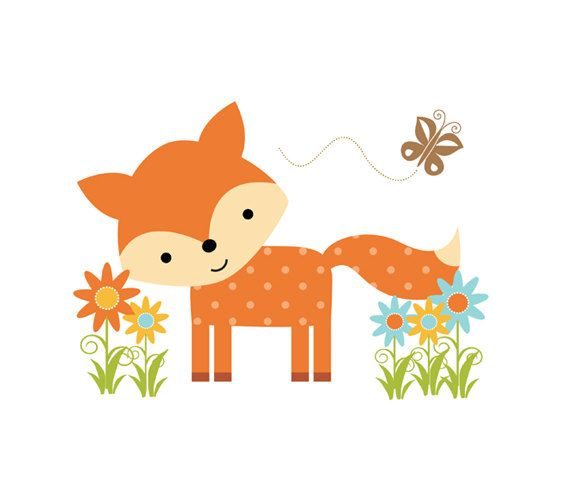 WOODLAND FOX DECAL Forest Animal Baby Nursery Wall Mural Stickers Girl Boy  Room Childrens Animal Friends Part 71