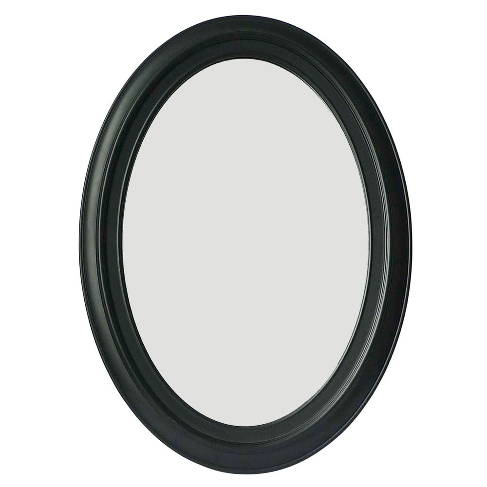 Black Oval 28.75-inch x 21-inch Wall-mount Dressing Mirror