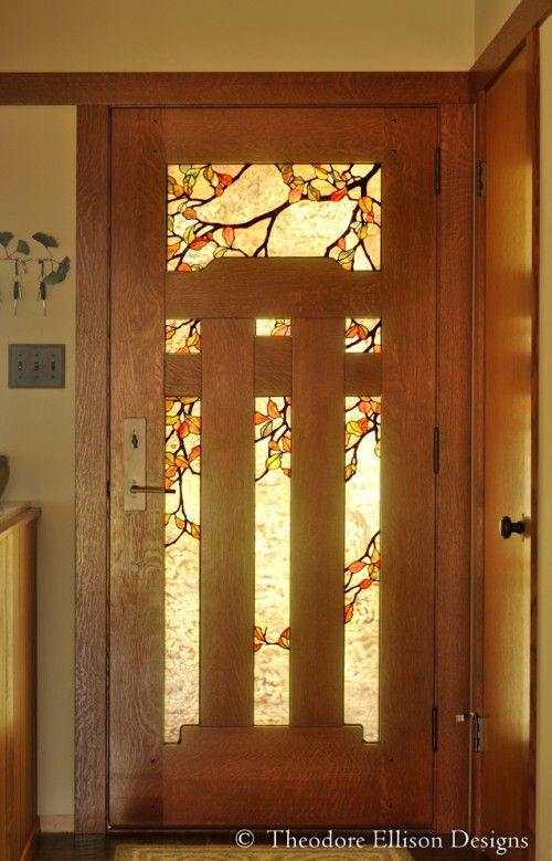 News From The Workshop Of Theodore Ellison Craftsman Door Stained Glass Door Craftsman Front Doors