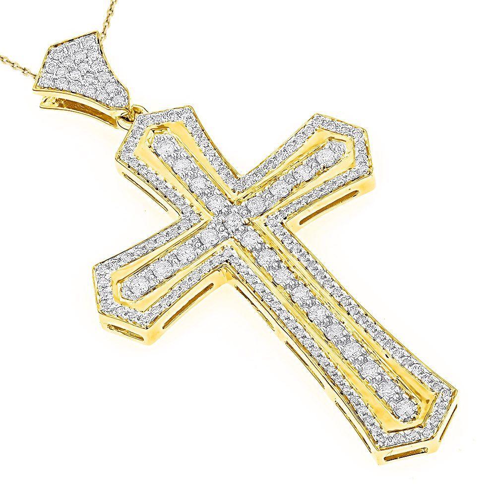Luxurman k gold menus ct tdw diamond designer cross pendant