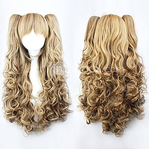 18/'/' Ringlet Curly Pony Tail Clip Silver Gray Cosplay Lolita Wig Clip Only NEW