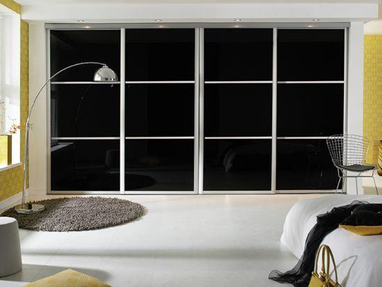 stunning black glass sliding wardrobe doors