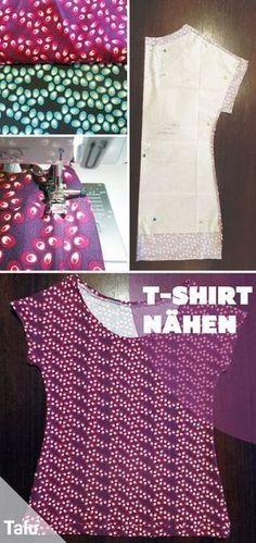 T-Shirt selber nähen - Anleitung + kostenloses Schnittmuster #shirtschnittmuster