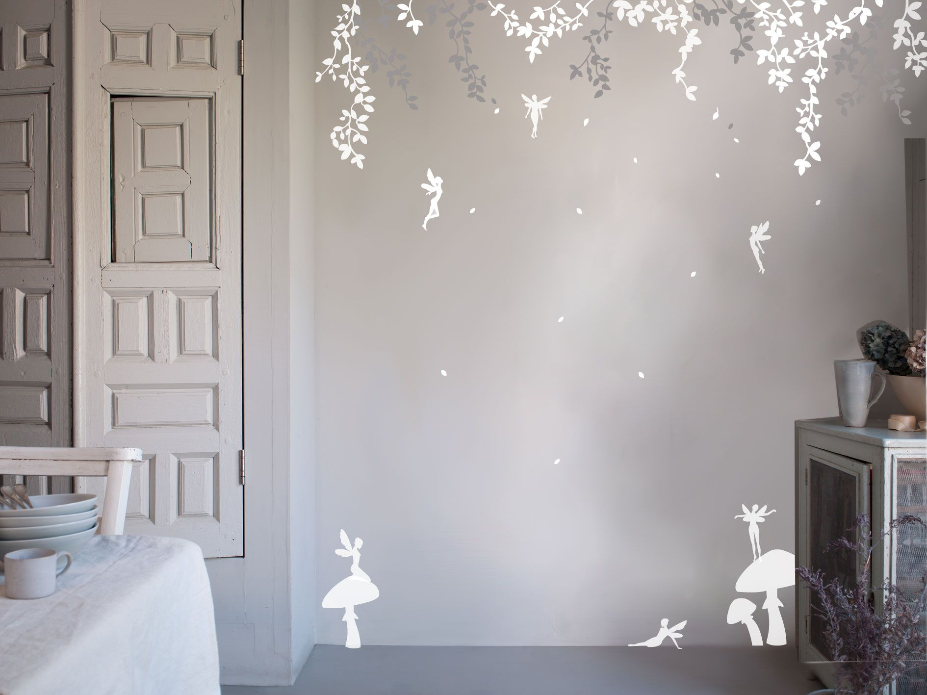 Enchanted Forest Bedroom | Enchanted Fairy Forest Wall Sticker   White/Grey  From Bambizi |