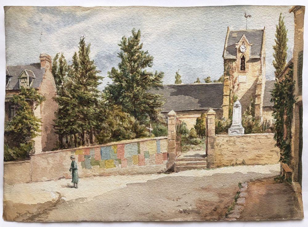 Details Sur Grande Aquarelle Ancienne Paysage Carolles Eglise