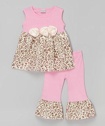 AnnLoren Pink & Cream Simba Tunic & Pants - Infant, Toddler & Girls by AnnLoren #zulily #zulilyfinds