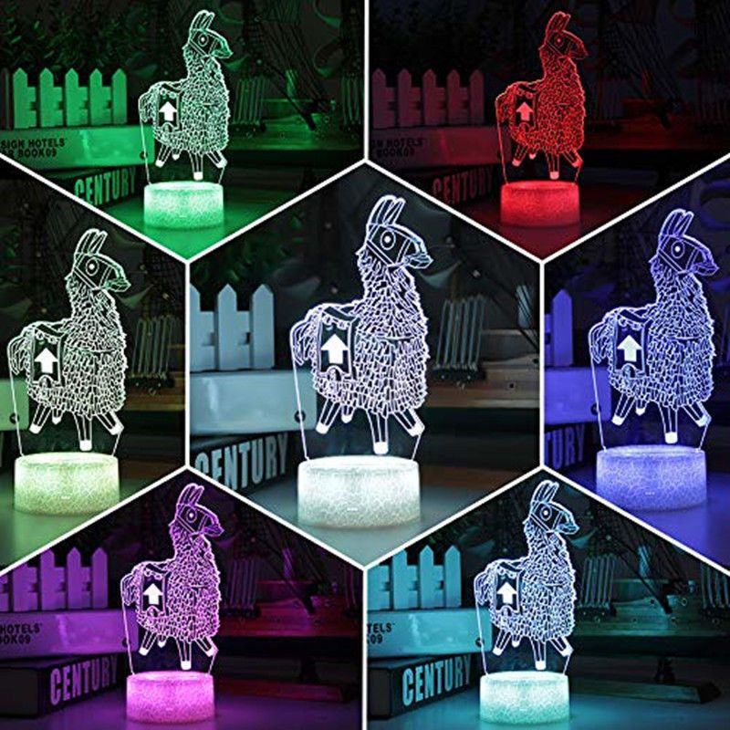 3d Led Night Lights Usb Bedroom Light Alpaca Fortnite 7 Colors Table Touch Lamp 3d Led Night Light Night Light 3d Night Light