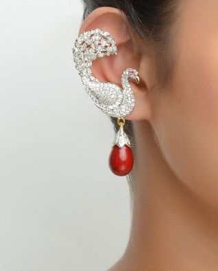 Desi Peacock Red  Earrings With Changeable Stone