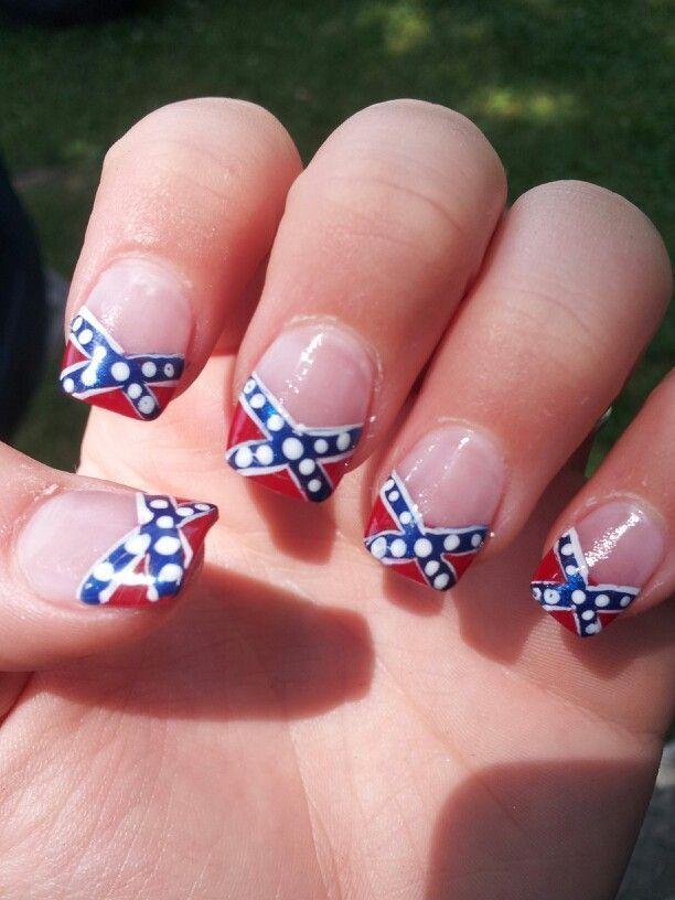 Confederate flag - Confederate Flag Nail Airt Pinterest Acrylic Nail Designs