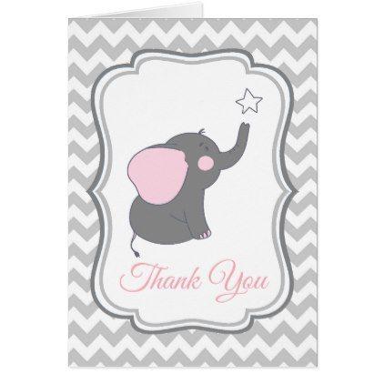 Elephant baby shower thank you card chevron baby gifts child new elephant baby shower thank you card chevron negle Gallery
