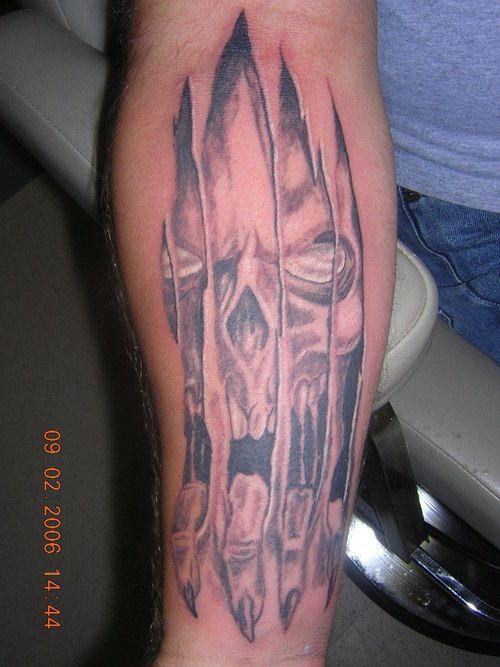 Pin Pin Skull Ripping Skin By Premium K Torn Tattoo Design Art Flash Tattoos Skin Tear Tattoo Leg Tattoos