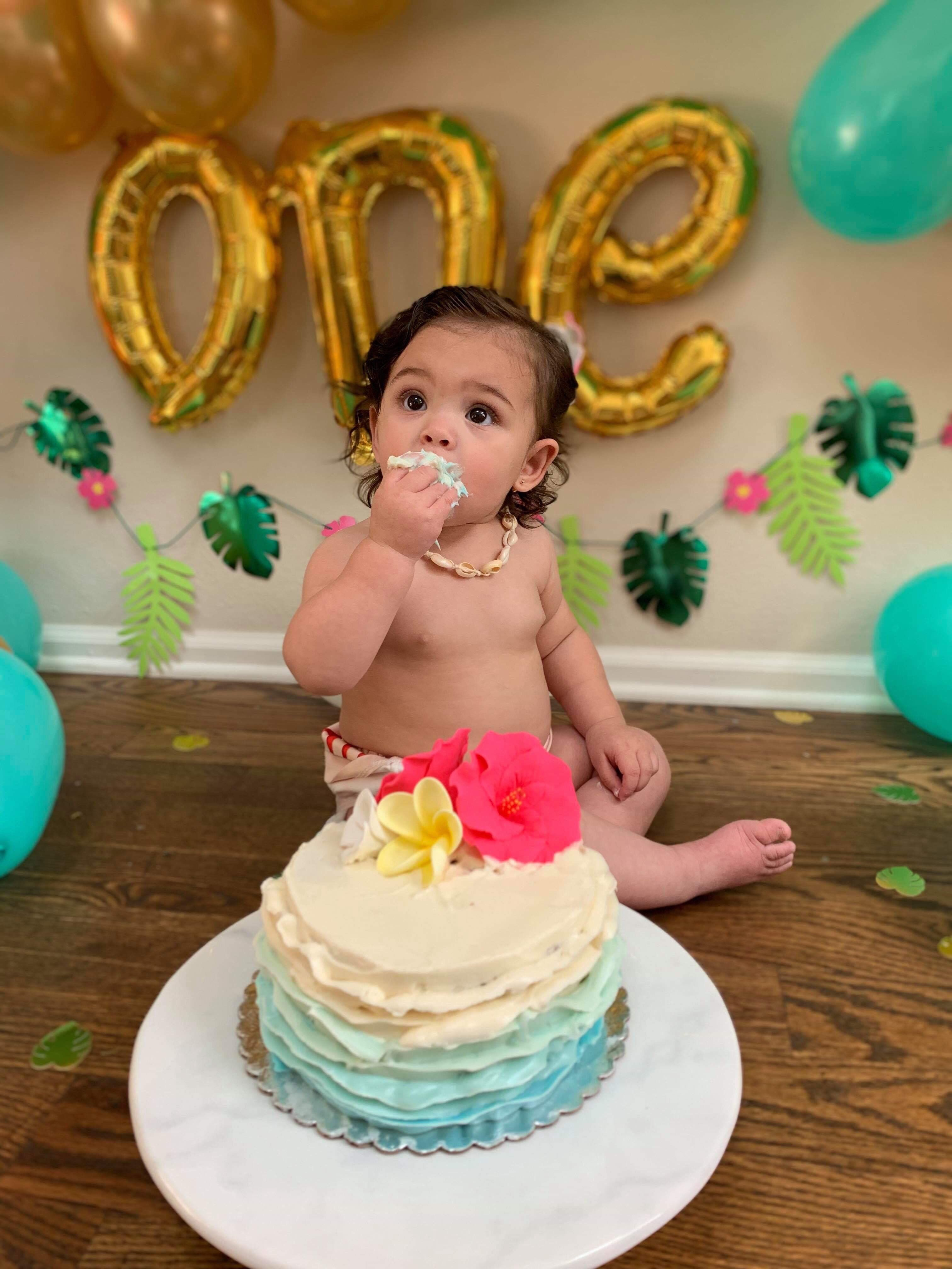 Surprising Ombre Wave Smash Cake For A Hawaiian Moana Themed First First Funny Birthday Cards Online Barepcheapnameinfo