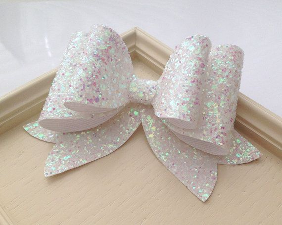 Items similar to Oversized White Glitter fabric bow hair clip -Girl and Adult extralarge hair bow, Great for all ages. on Etsy