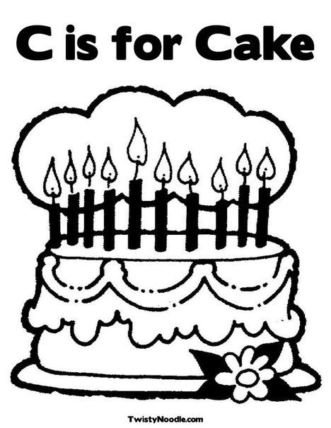 Letter C Cake Coloring Page Birthday Coloring Pages Happy