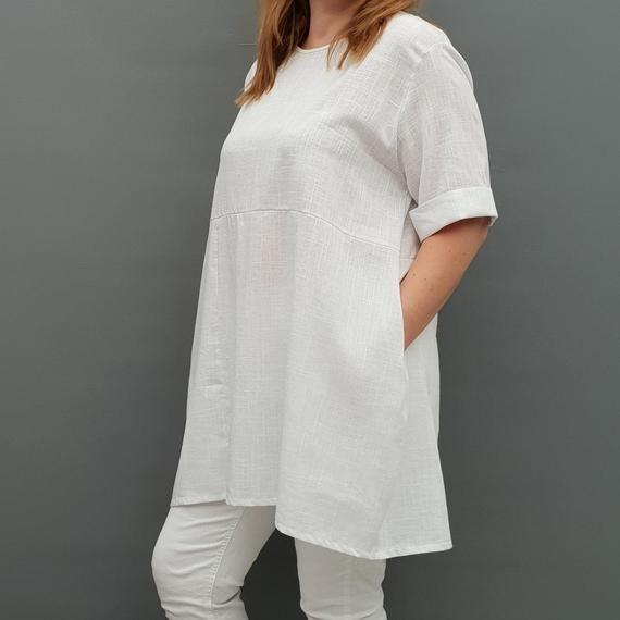 Linen Tunic Summer Top Loose Lagenlook Blouse Short Sleeve Plus Size [l1064_white] #linentunic