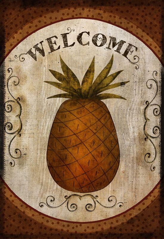 "Primitive Folk Art Pineapple Welcome Print on Canvas Board 5x7/"""