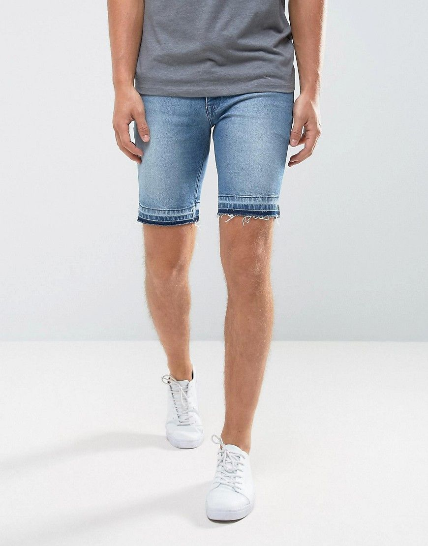 Denim Shorts In Skinny Mid Wash Blue With Cut And Sew Detail - Mid wash blue Asos Many Kinds Of Buy Cheap Countdown Package Buy Cheap Purchase pnBEhQBbCQ
