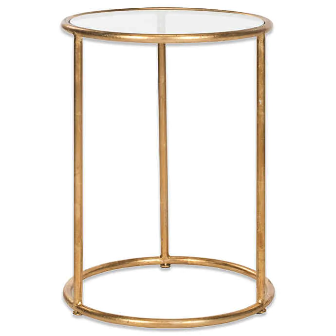 Safavieh Shay Accent Drum Table Glass Top Accent Table Glass Accent Tables Gold Accent Table