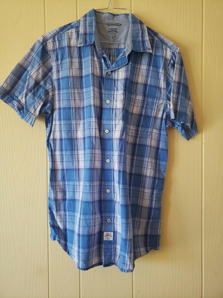 e7784a21473 Mens IZOD Saltwater Seaport Poplin Plaid Short Sleeve Button-down Shirt-L   fashion