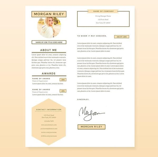 Pretty Sunrise Resume, Cover Letter  References Template Package