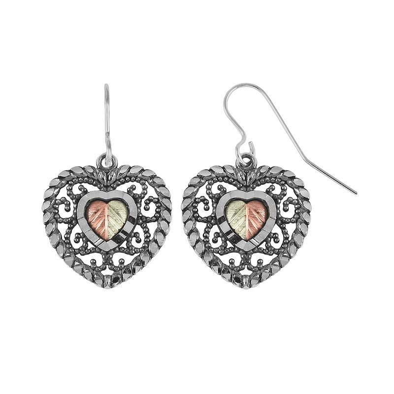 Black Hills Gold Tri-Tone Openwork Heart Drop Earrings in Sterling Silver, Women's, Grey