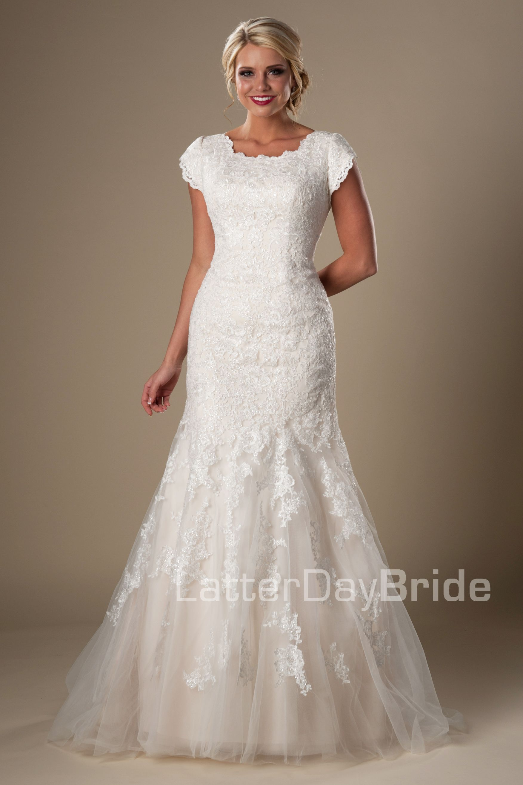 Berkeley modest lace wedding dress latterdaybride for Lds wedding dresses utah