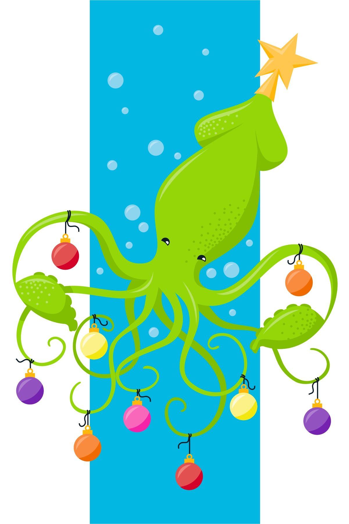 Funny Christmas Kraken Ocean Theme Holiday Cards Set Greeting Card