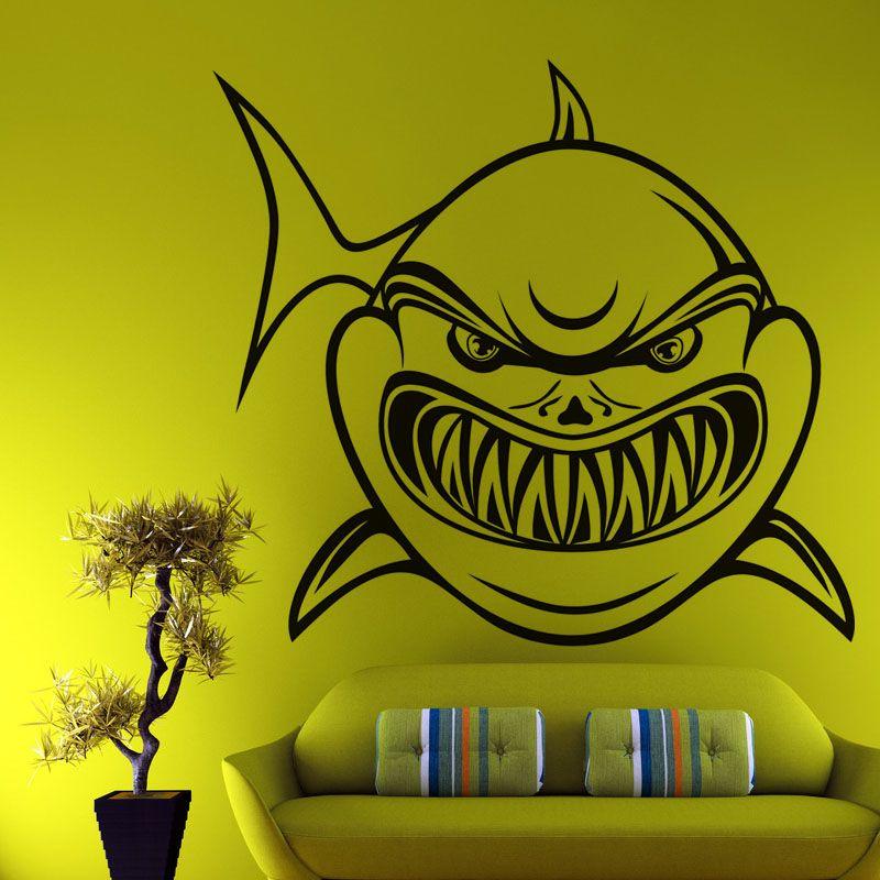 Cartoon Shark Wall Stickers With Sharp Teeth Wall Decal Kids ...