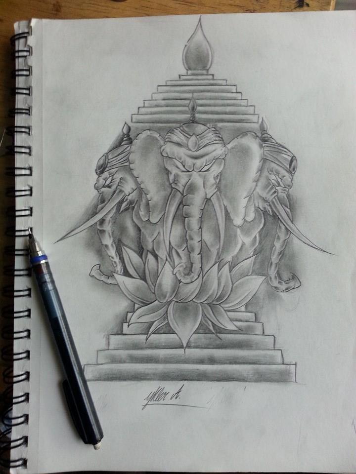 Three Headed Elephant Sketch | Tattoos | Elephant tattoo ...