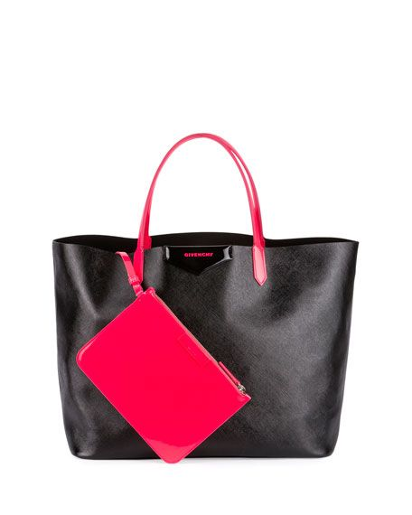 53b937a6c2 GIVENCHY ANTIGONA LARGE FLUORESCENT SHOPPER BAG, BLACK/FUCHSIA. #givenchy # bags #canvas #tote #patent #lining #shoulder bags #hand bags #