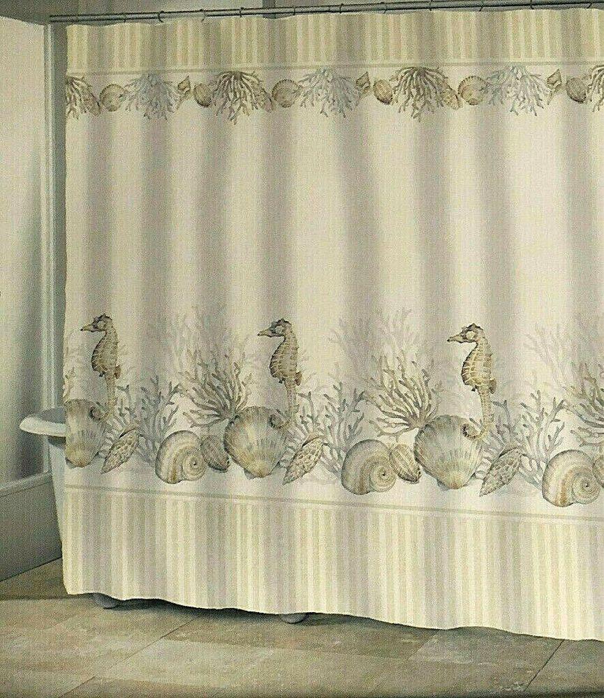 Seahorse Shells Fabric Shower Curtain Coastal Nautical Beach