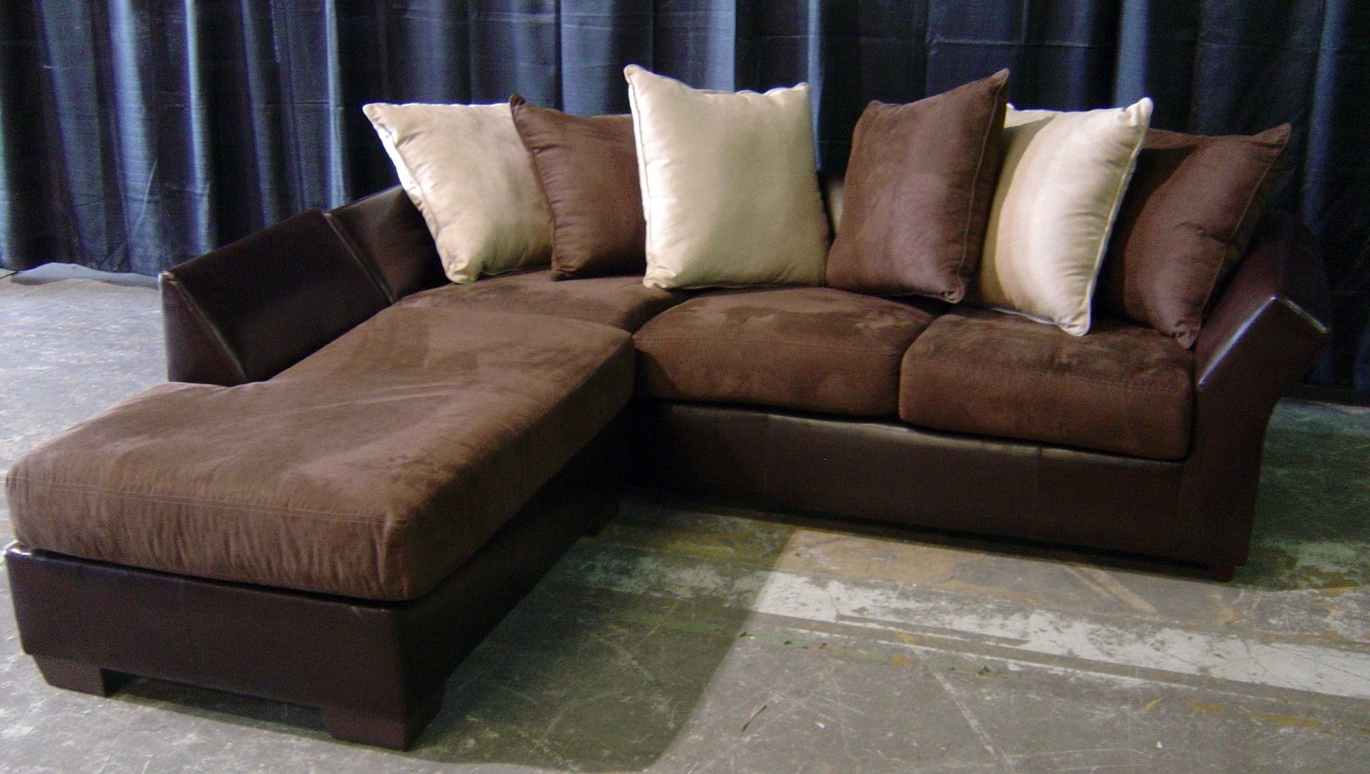 Brown Leather And Suede Sofa With Chaise Cleaning Suede Couch