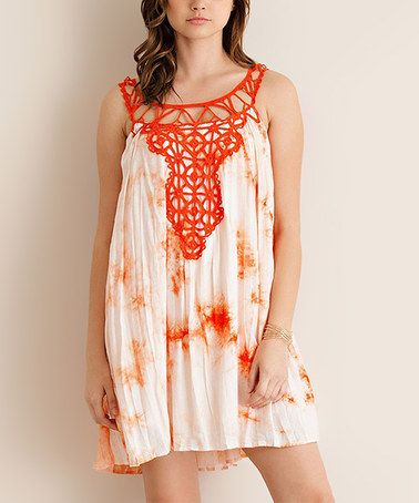 This Orange Tie-Dye Crochet-Accent Shift Dress is perfect! #zulilyfinds