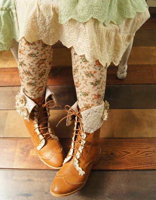 country, autumn, brown boots, pastel, fashion, floral, lace, mori girl