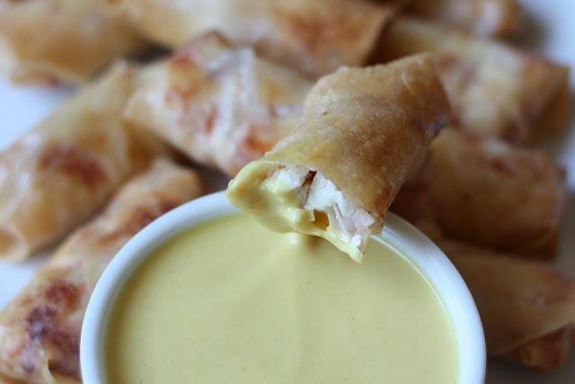 Chicken Cordon Bleu Eggrolls - chicken, ham, swiss cheese, roll wrapper, egg, oil, honey mustard dipping sauce