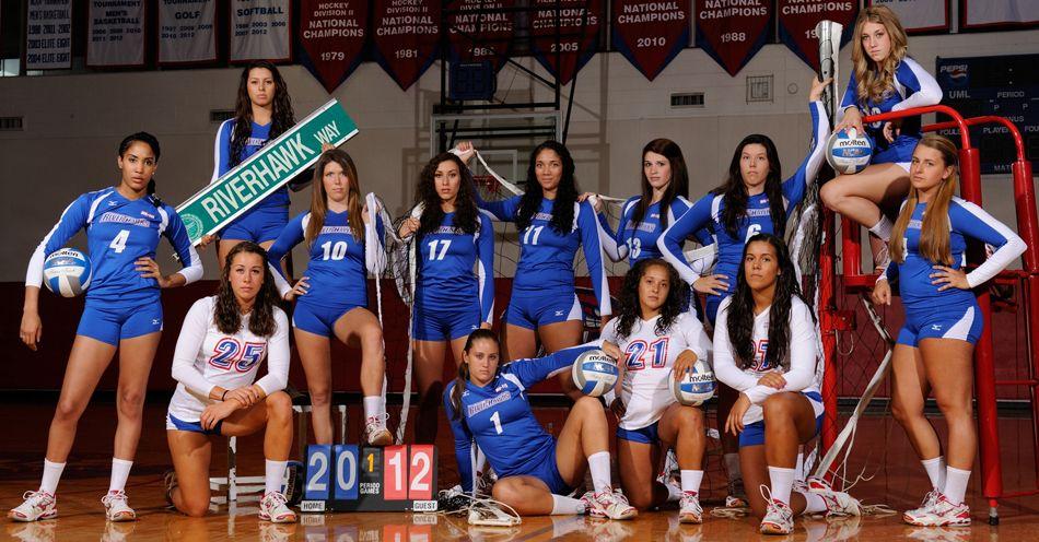 Umass Lowell Volleyball Team Photo Volleyball Team Volleyball Photos Volleyball Photography