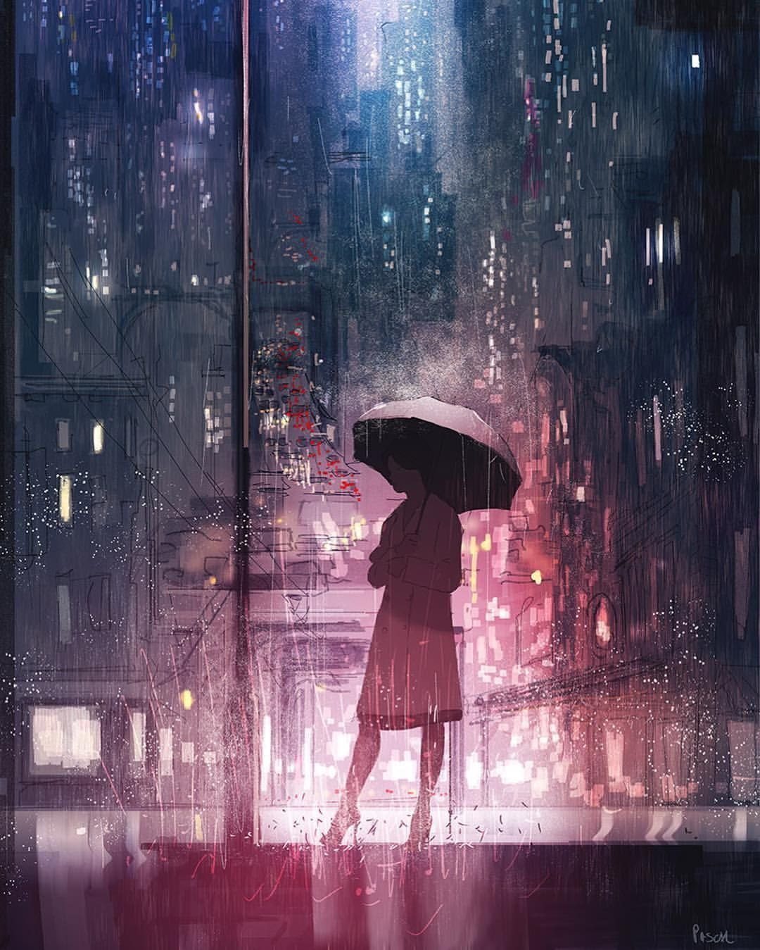 6 Anime Backgrounds Night Rain In 2020 Anime Scenery Rain Wallpapers Open Art