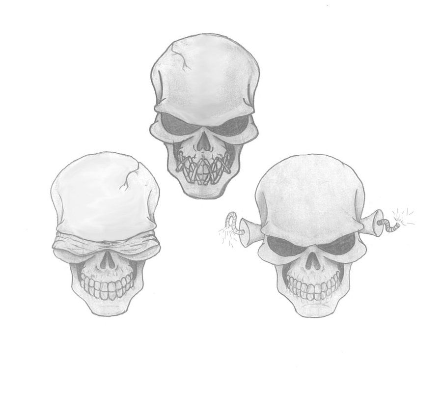see no evil hear no evil speak no evil skull tattoo design 12 tattos pinterest evil. Black Bedroom Furniture Sets. Home Design Ideas