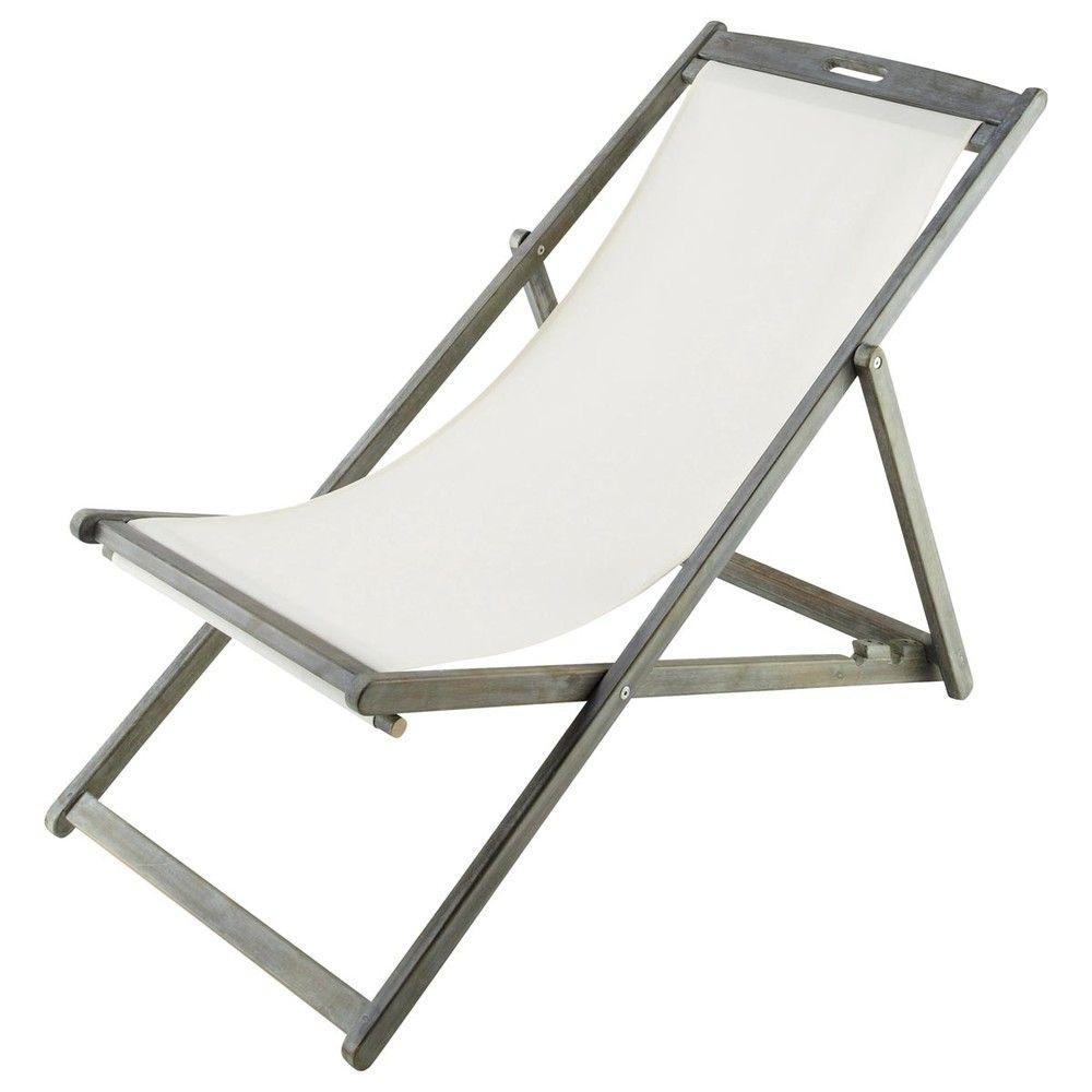 Chaise longue / chilienne pliante ivoire en acacia grisée | maison