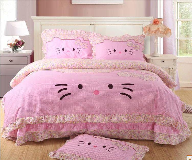 Hello Kitty Bedding Comforter Set Cartoon Kawaii Bedding Bed