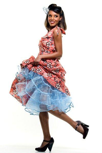 1950s Style Light Blue Tulle Tea Length Petticoat Crinoline
