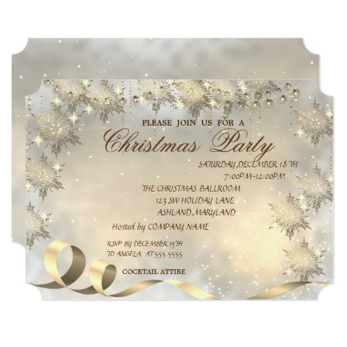 Elegant Gold Snowflakes Corporate Christmas Party