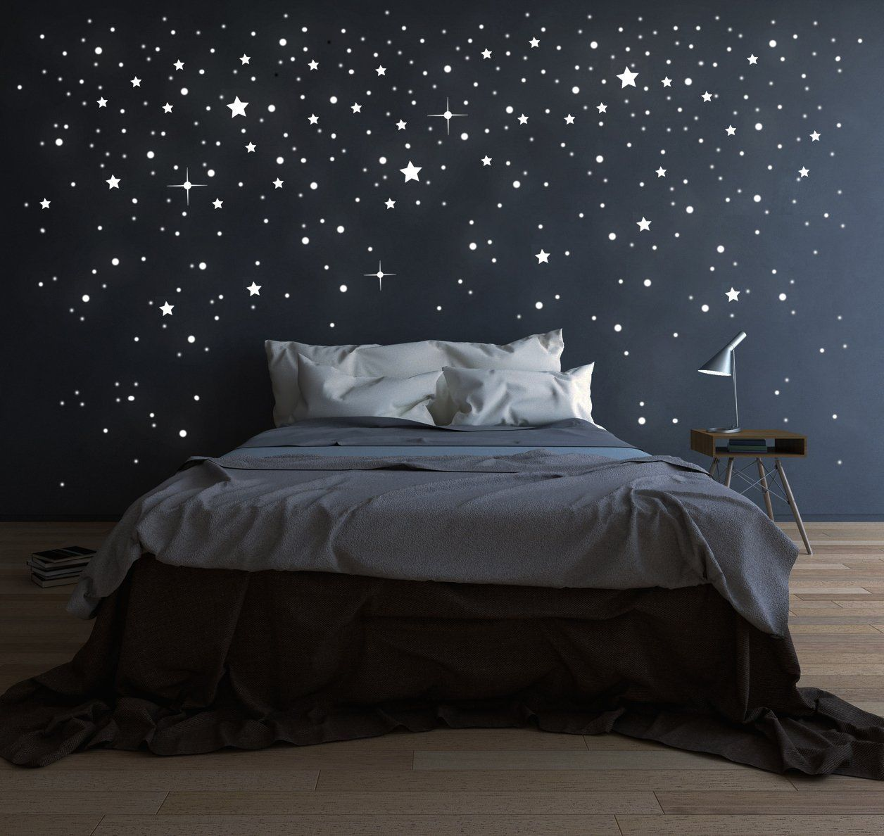 riesen sternenhimmel 708 stk sterne wandtattoo fluoreszierend leuchtende sterne leuchtsterne. Black Bedroom Furniture Sets. Home Design Ideas
