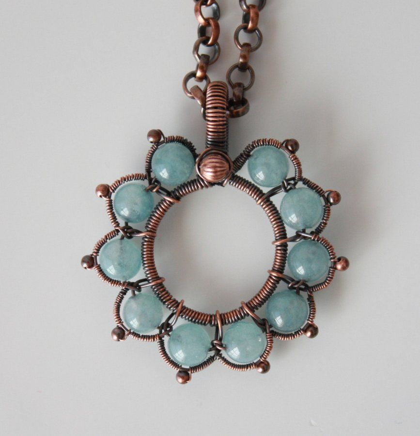 Victorian flower in blue   JewelryLessons.com - 6mm beads, 4mm rolo chain from Rio Grande