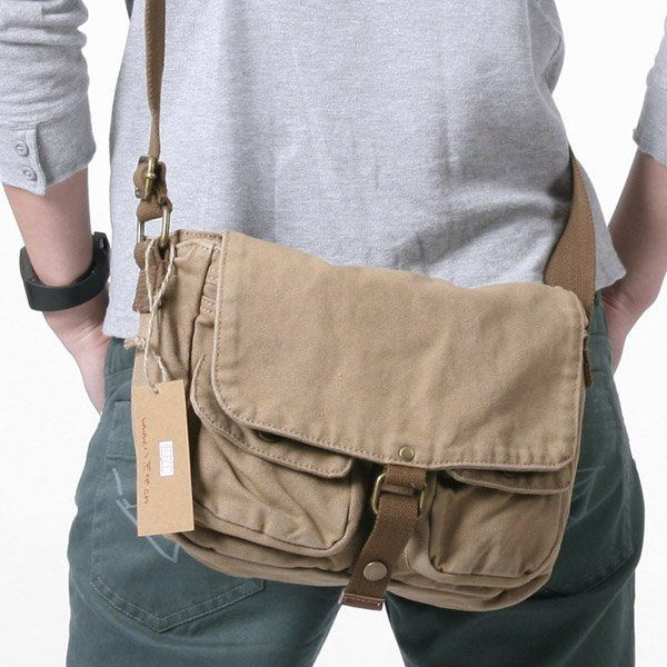 2371 khaki men's shoulder bag, 100% cotton canvas bag,men's bags ...