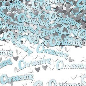 Blue Christening Table Confetti Sprinkles Blue Christening Party Decorations