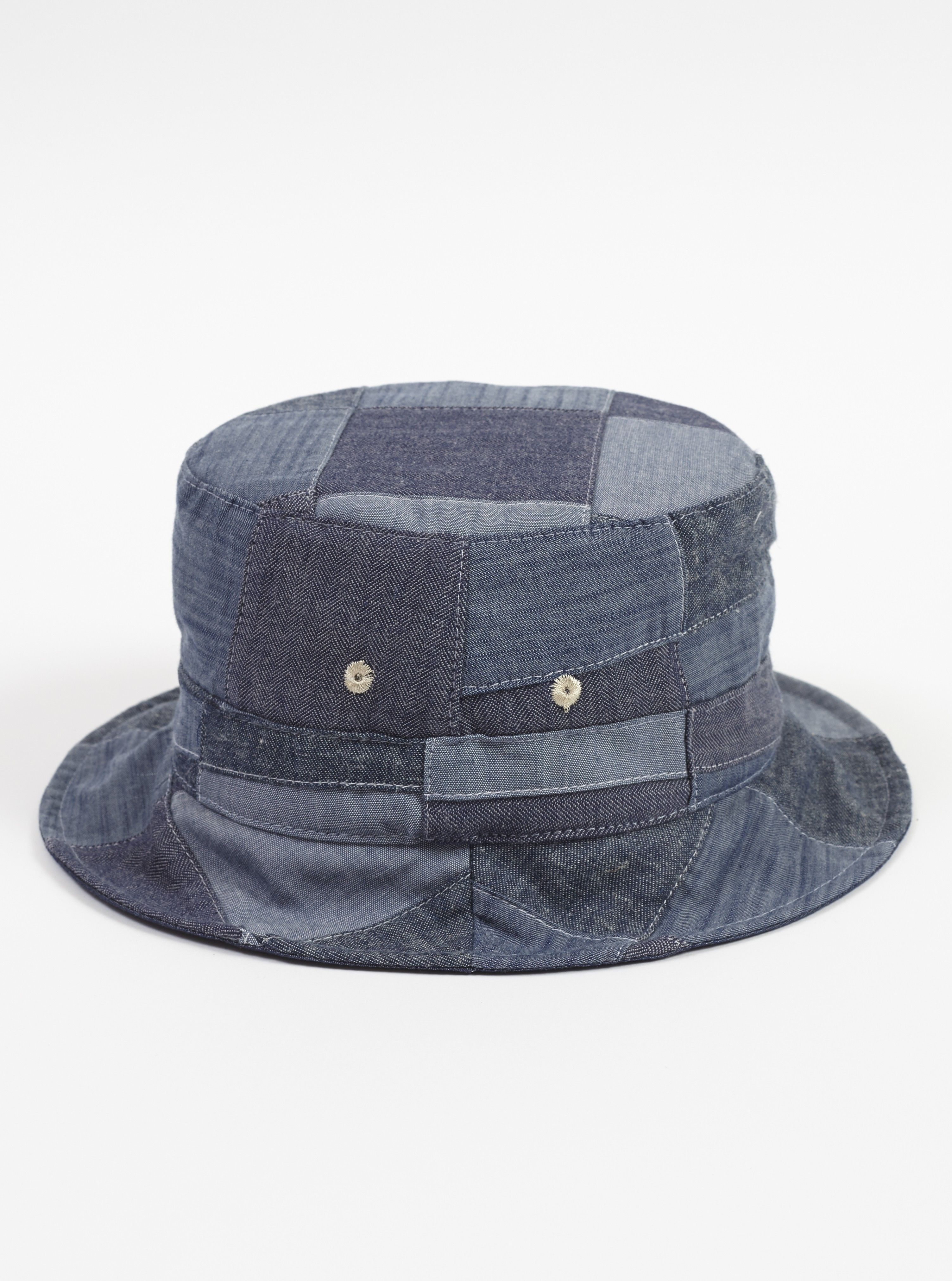 Universal Works Bucket Hat in Indigo Chambray Patchwork  7b00f393d5d