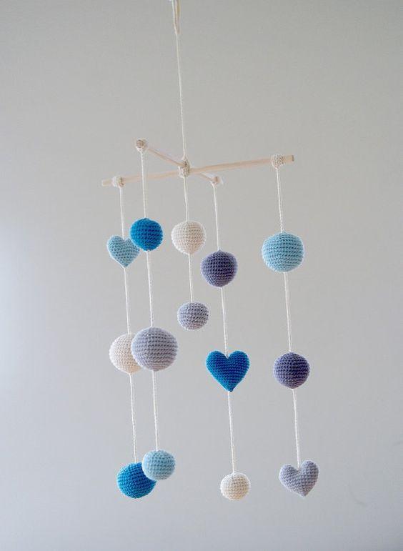 Crochet Aqua Blue Hearts/Balls Baby Mobile - Grey/Blue/Aqua Ball\u0027s